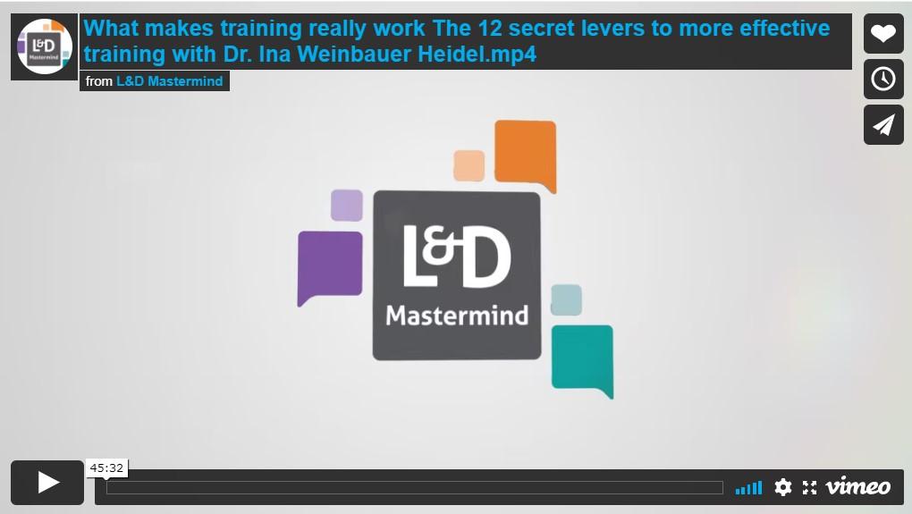 Ina Weinbauer-Heidel.What makes training really work