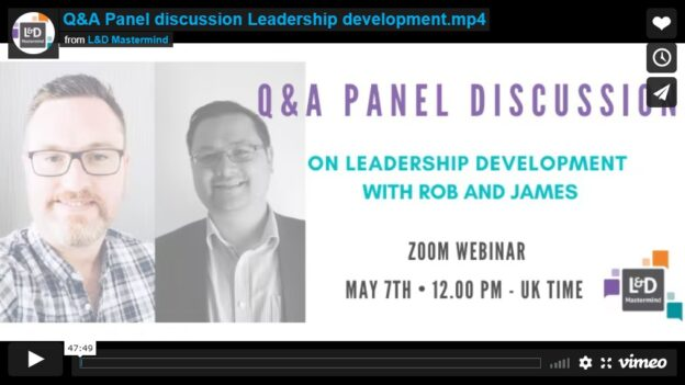 James Hudson.Rob Moors.Panel discussion on leadership development