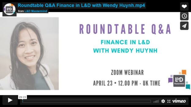 Wendy Huynh.Roundtable.Finance in L&D