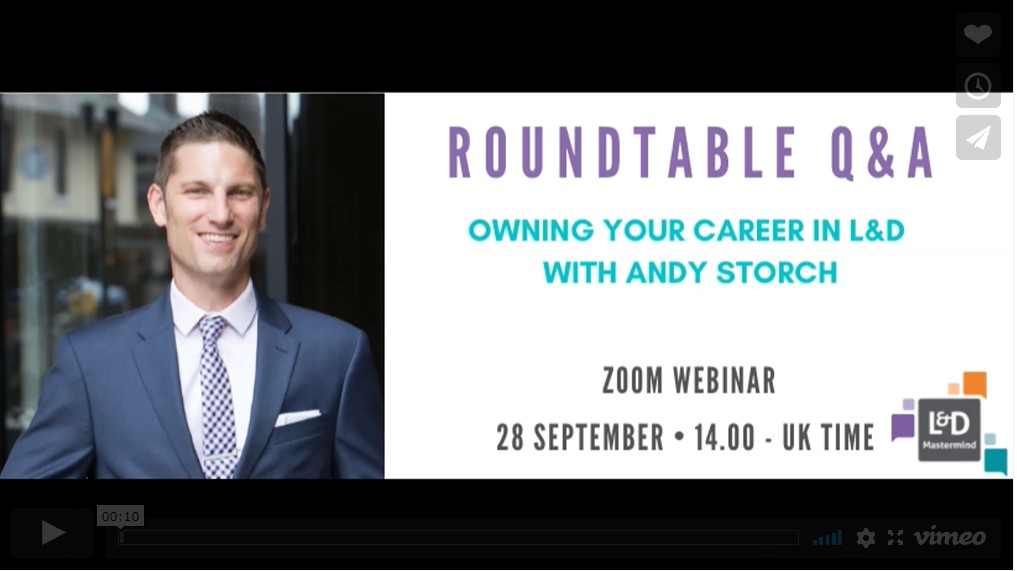 Andy Storch.Owning your career in L&D